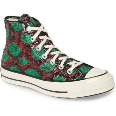 Converse Chuck Taylor All Star Sequin High Top Sneaker- Red
