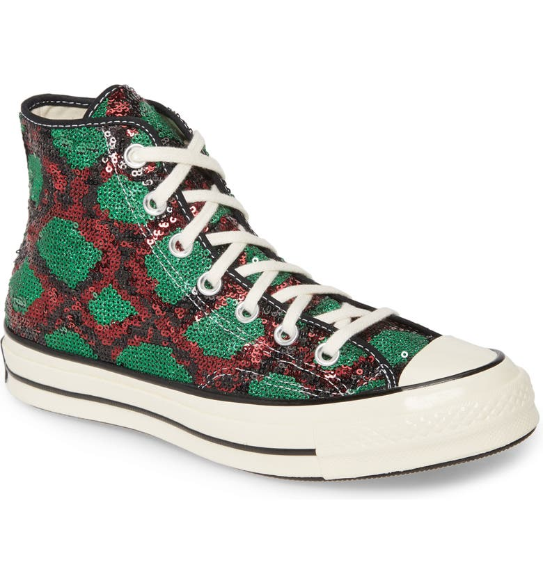 CONVERSE Chuck Taylor<sup>®</sup> All Star<sup>®</sup> Sequin High Top Sneaker, Main, color, RED