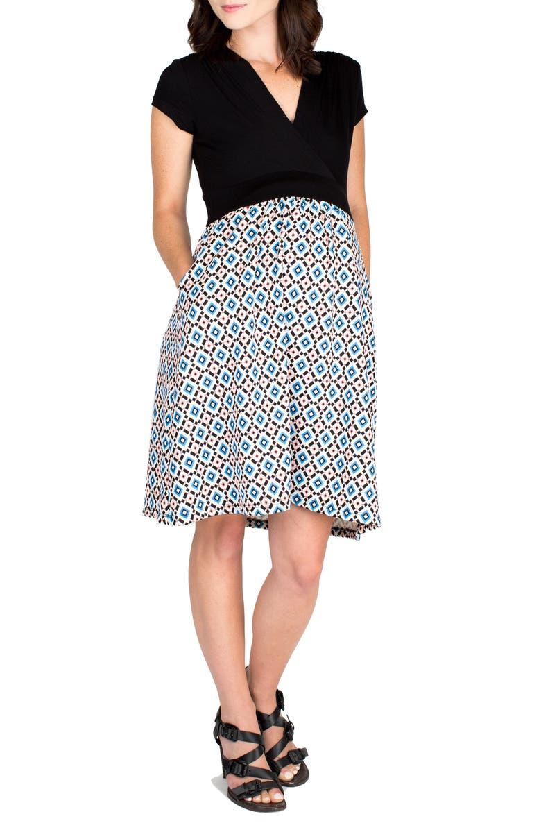 NOM MATERNITY 'Samantha' Surplice Maternity/Nursing Dress, Main, color, BLUE GEO PRINT