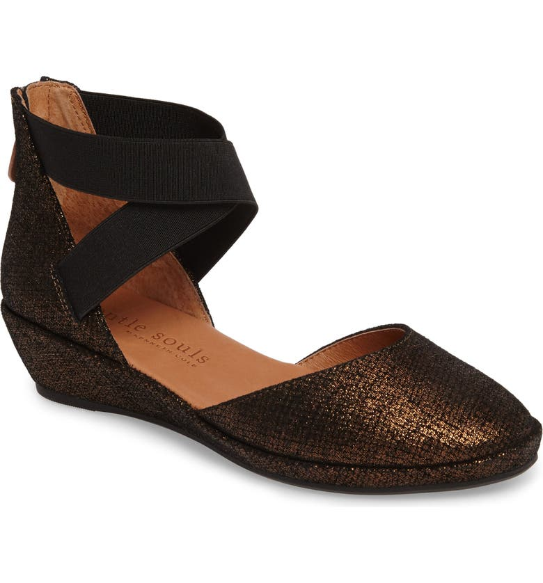 GENTLE SOULS BY KENNETH COLE 'Noa' Elastic Strap d'Orsay Sandal, Main, color, BRONZE EMBOSSED LEATHER