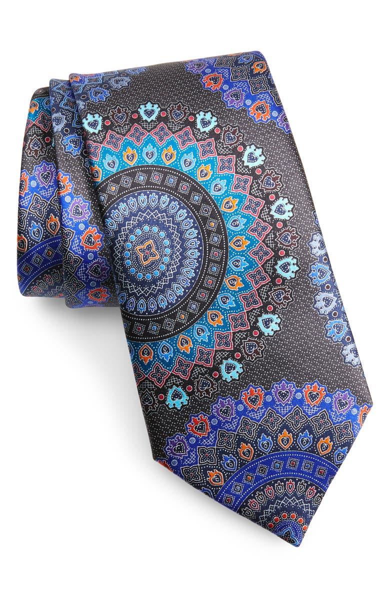 ERMENEGILDO ZEGNA Quindici Medallion Silk Tie, Main, color, BLACK