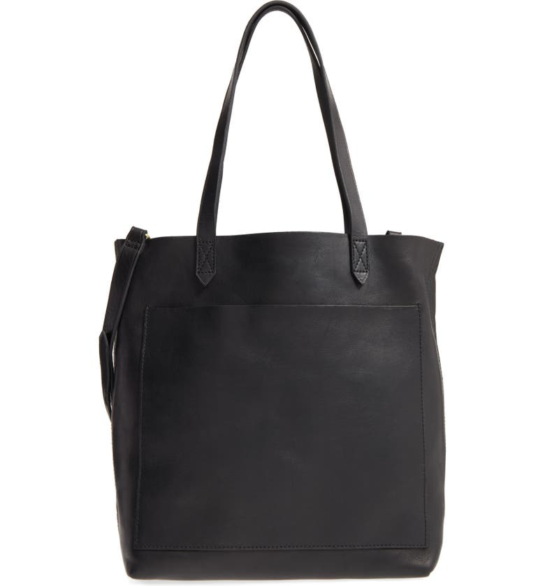 MADEWELL Medium Leather Transport Tote, Main, color, 001