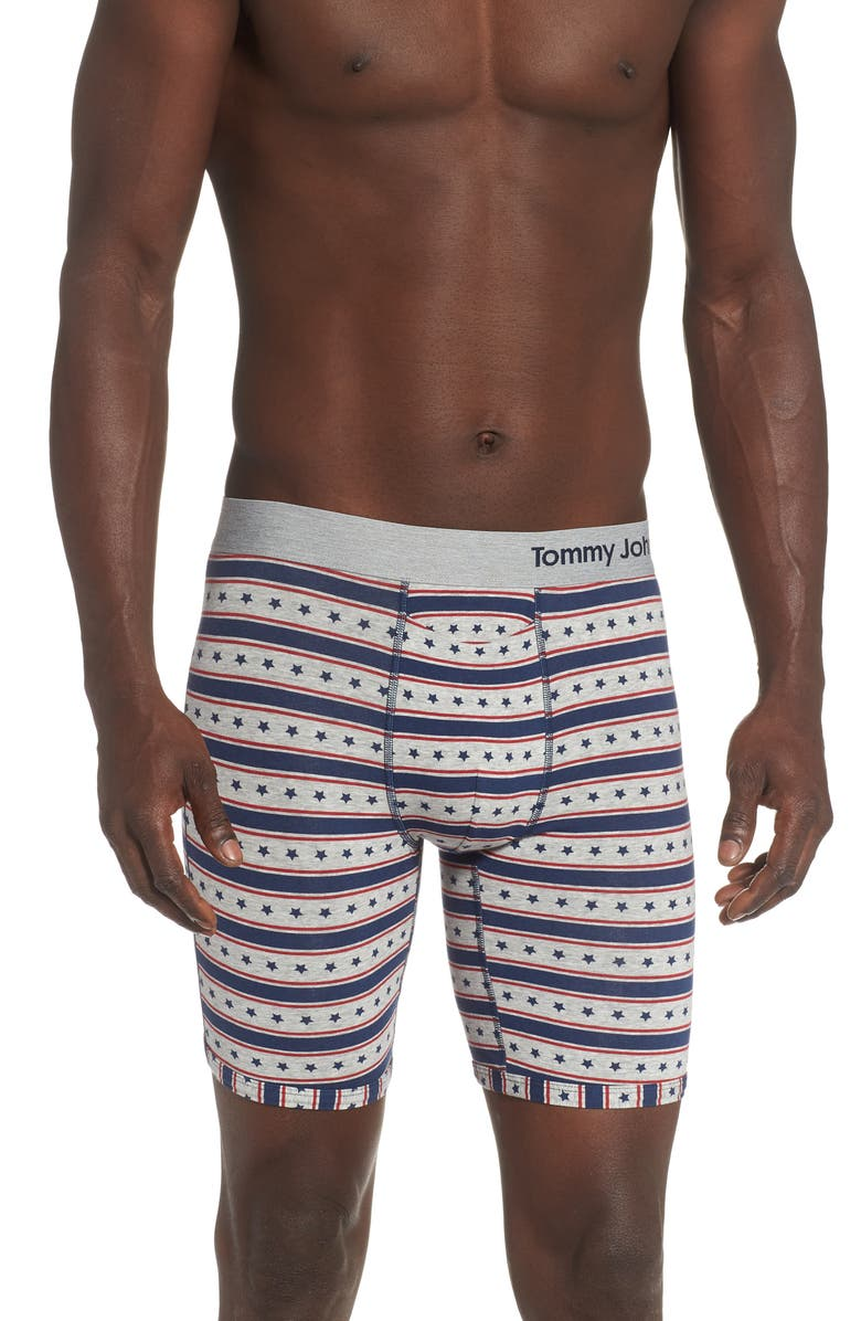 TOMMY JOHN Cool Cotton Print Boxer Briefs, Main, color, AMERICANA HEATHER GREY