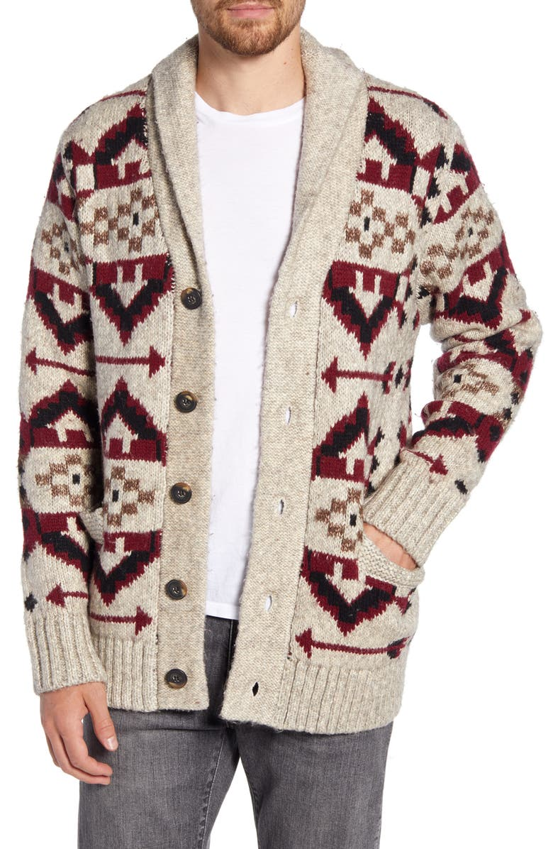 SCHOTT NYC Southwestern Motif Sweater, Main, color, LIMESTONE