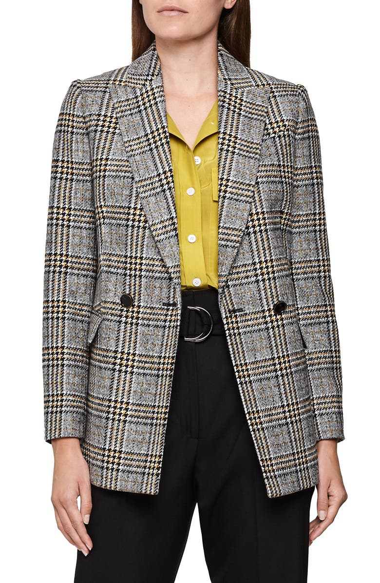 REISS Leighton Windowpane Check Double Breasted Blazer, Main, color, YELLOW CHECK