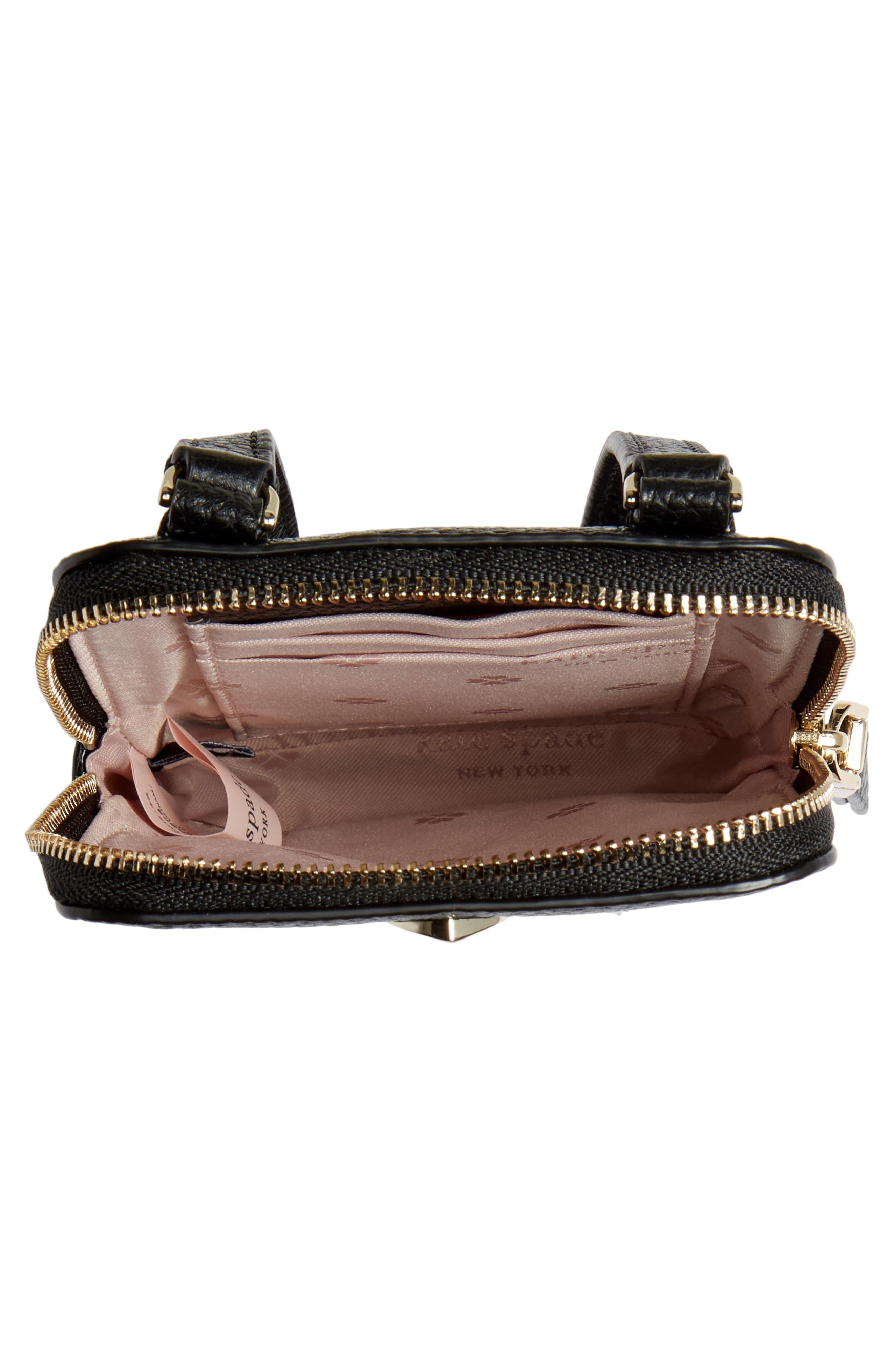 ,                             polly leather phone crossbody bag,                             Alternate thumbnail 5, color,                             BLACK