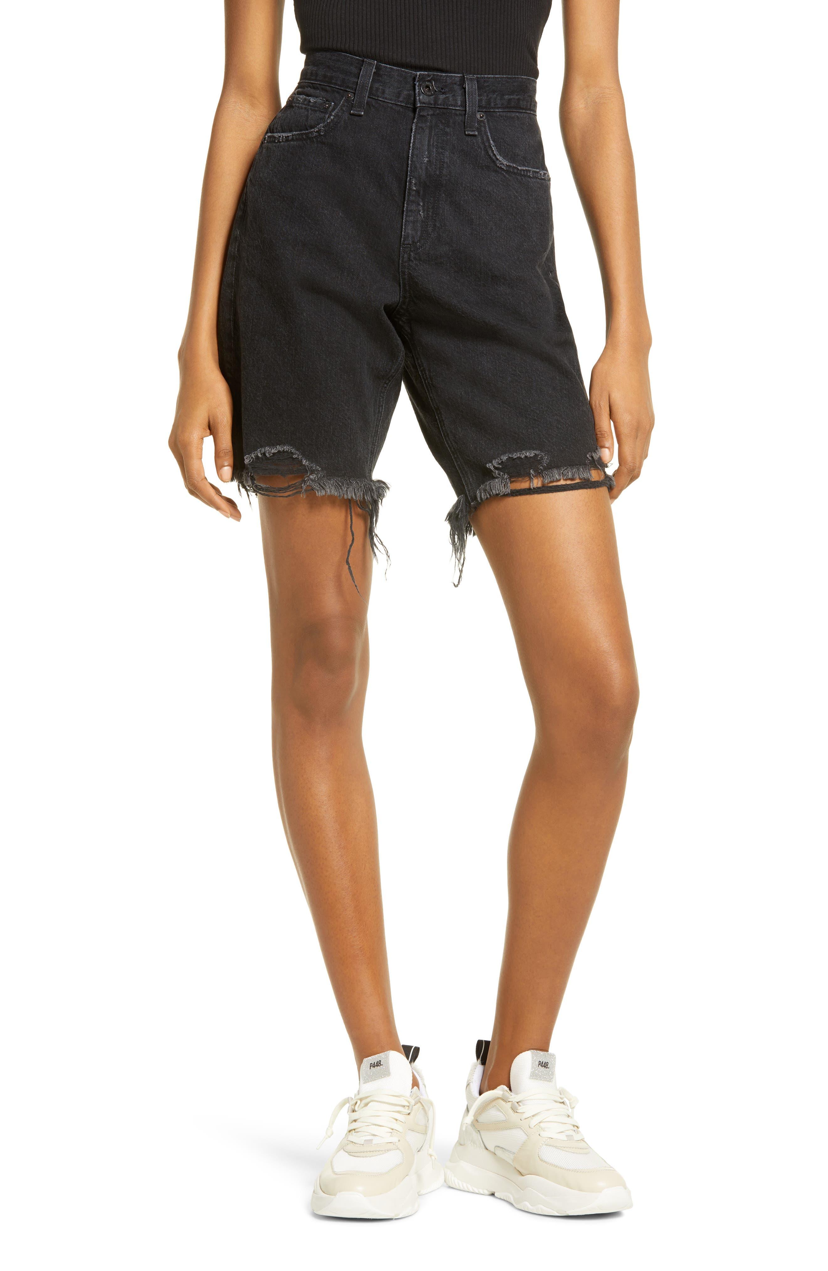 Mid Length Nonstretch Cutoff Denim Shorts