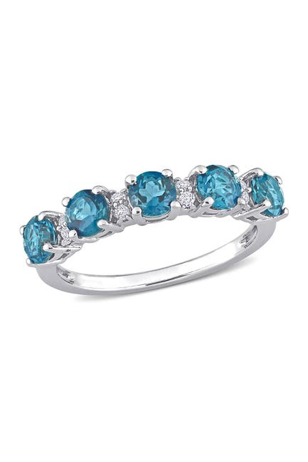 Image of Delmar Sterling Silver Topaz Eternity Ring