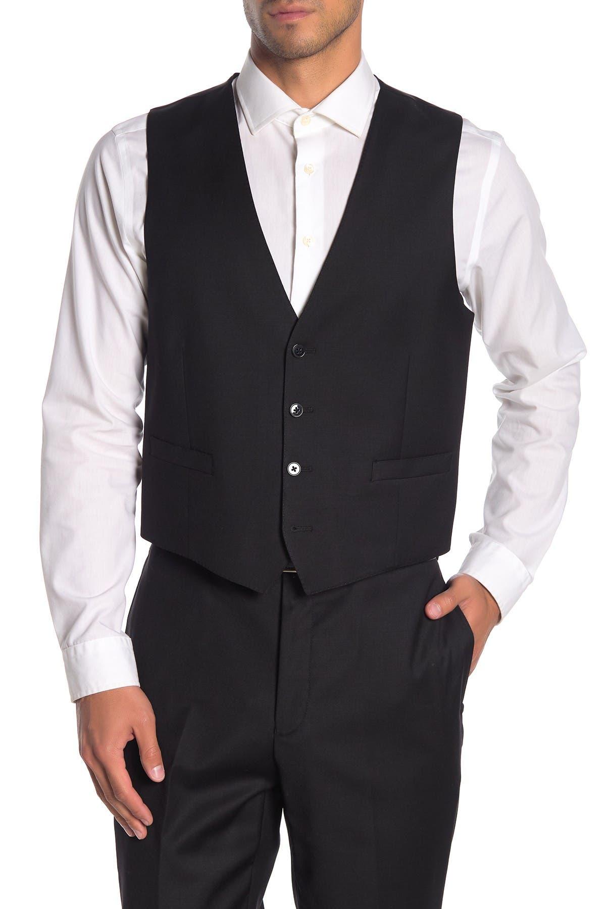 Image of Calvin Klein Black Twill Slim Fit Suit Separate Vest