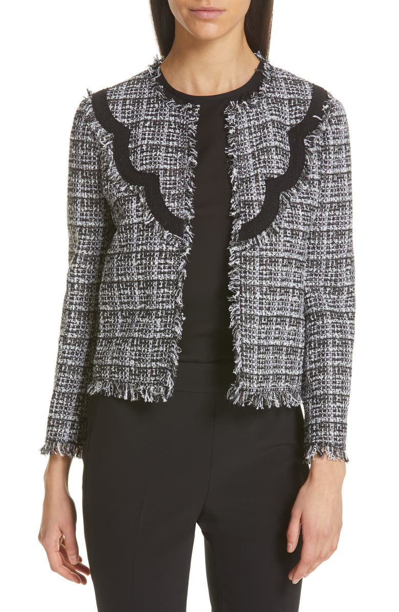 KATE SPADE NEW YORK scallop detail tweed jacket, Main, color, 017