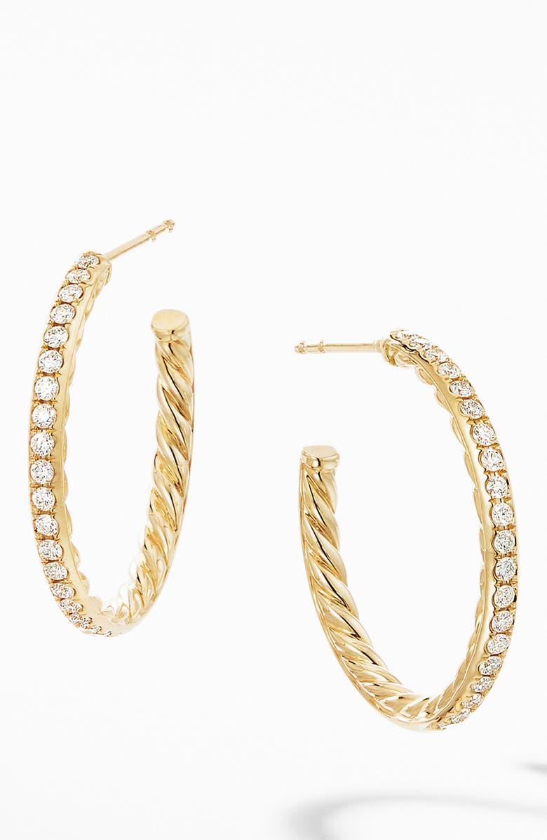 DAVID YURMAN Small Hoop Earrings in 18K Yellow Gold with Pavé Diamonds, Main, color, DIAMOND