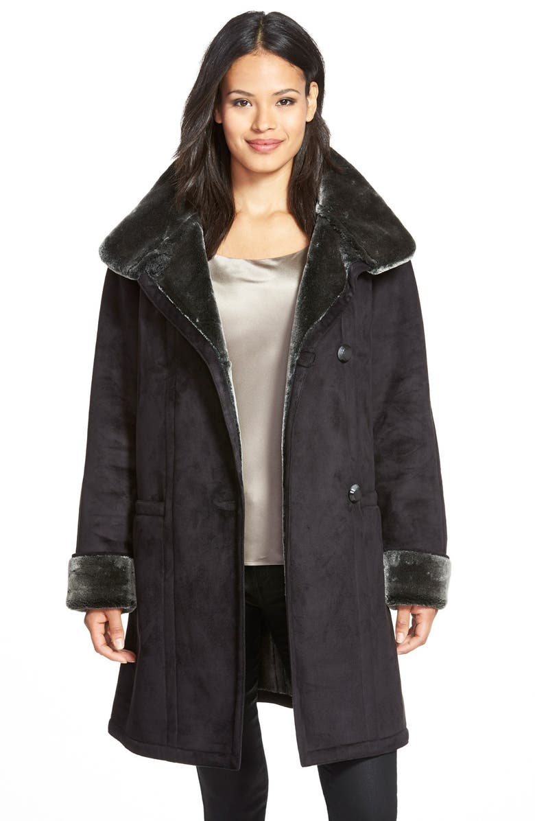 GALLERY Stand Collar Faux Shearling Coat, Main, color, 001
