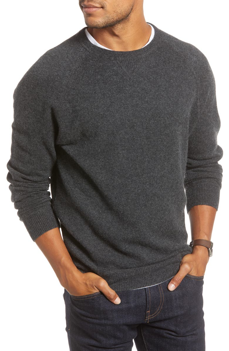 1901 Crewneck Cashmere Sweater, Main, color, GREY DARK CHARCOAL HEATHER
