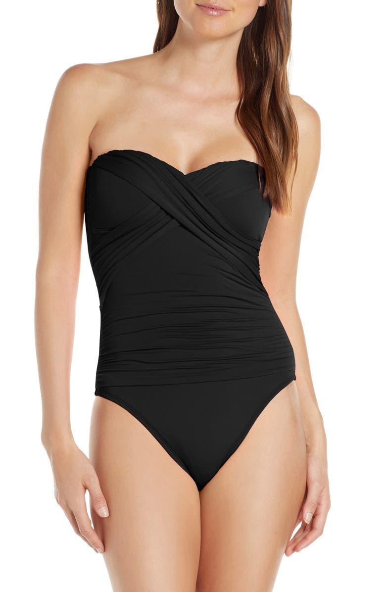 LA BLANCA Bandeau One-Piece Swimsuit, Main, color, BLACK