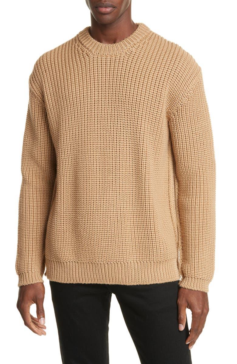 BOTTEGA VENETA Crewneck Cable Mouliné Wool Sweater, Main, color, CAMEL