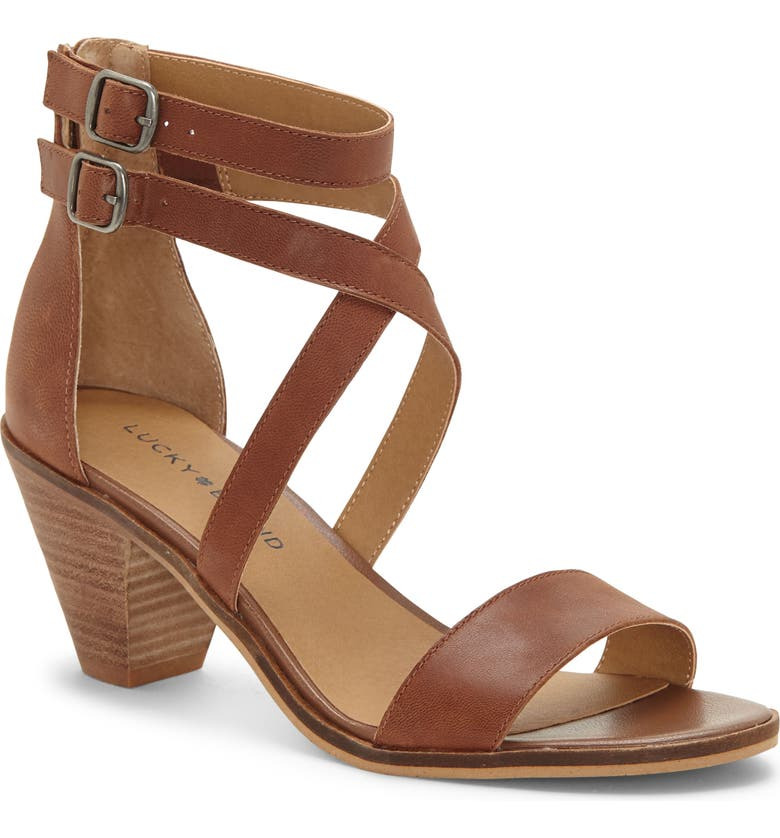 LUCKY BRAND Ressia Double Ankle Strap Sandal, Main, color, TOFFEE LEATHER