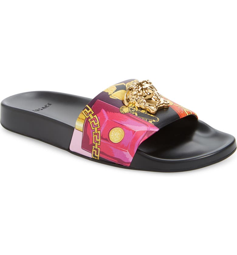 VERSACE Medusa Pool Slide Sandal, Main, color, MULTICOLOR/ BLACK