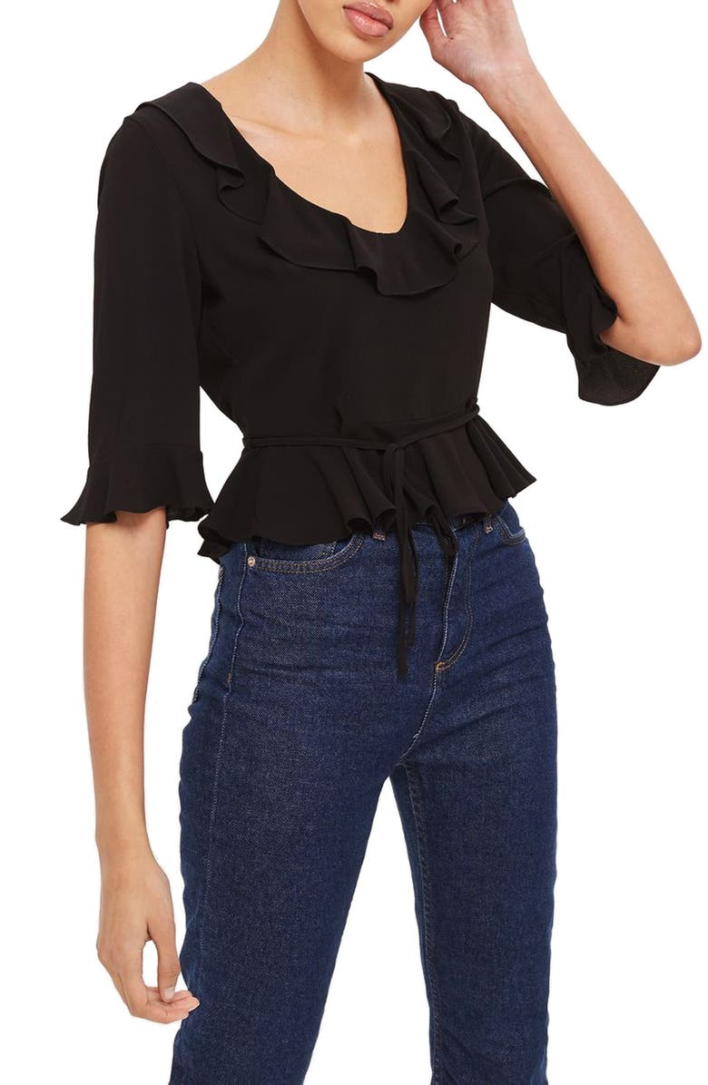 TOPSHOP Phoebe Frilly Blouse, Main, color, 001