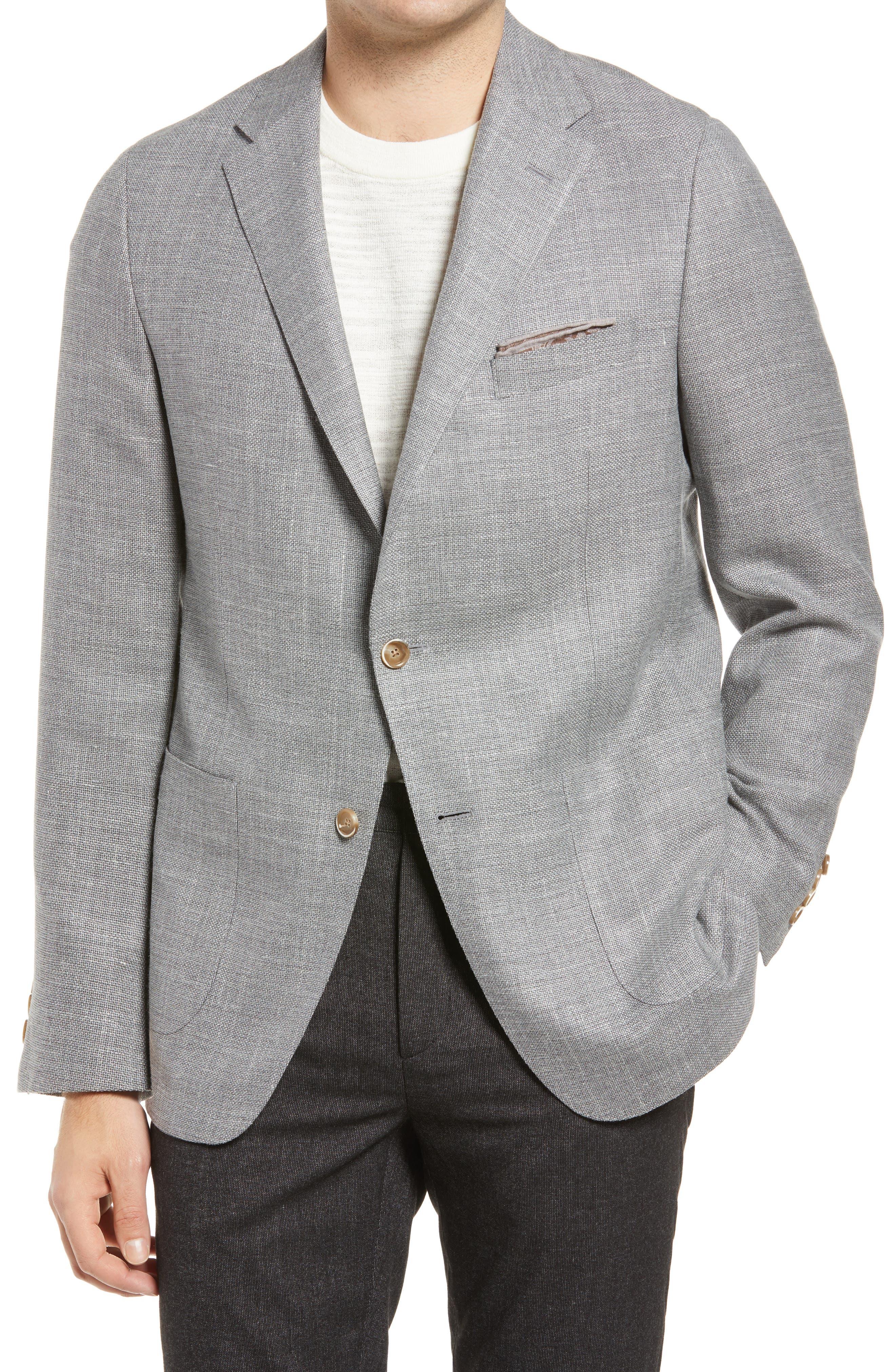 Storm Dust Classic Fit Basketweave Wool Blend Sport Coat