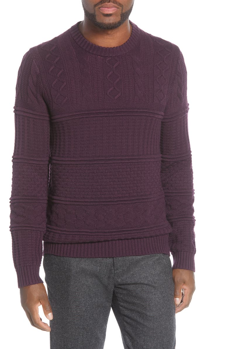 TED BAKER LONDON Marbal Mixed Stitch Crewneck Sweater, Main, color, DEEP PURPLE