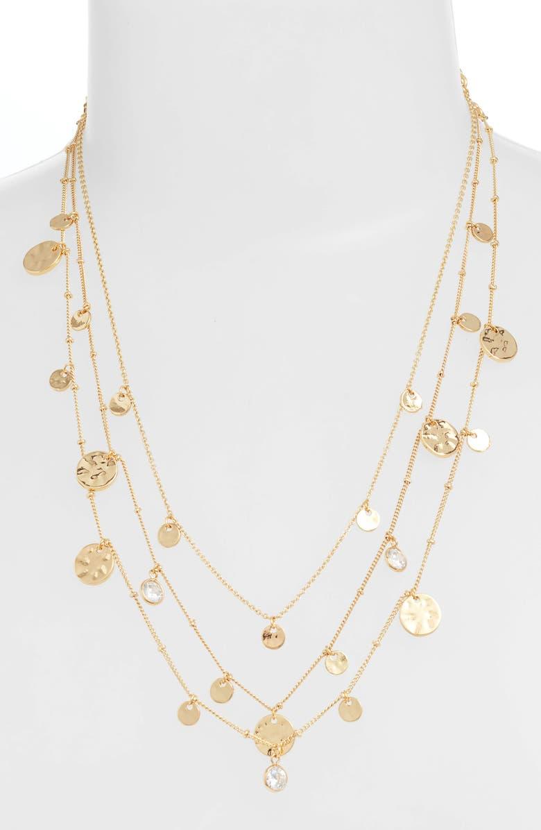 ETTIKA Set of 3 Disc Necklaces, Main, color, GOLD