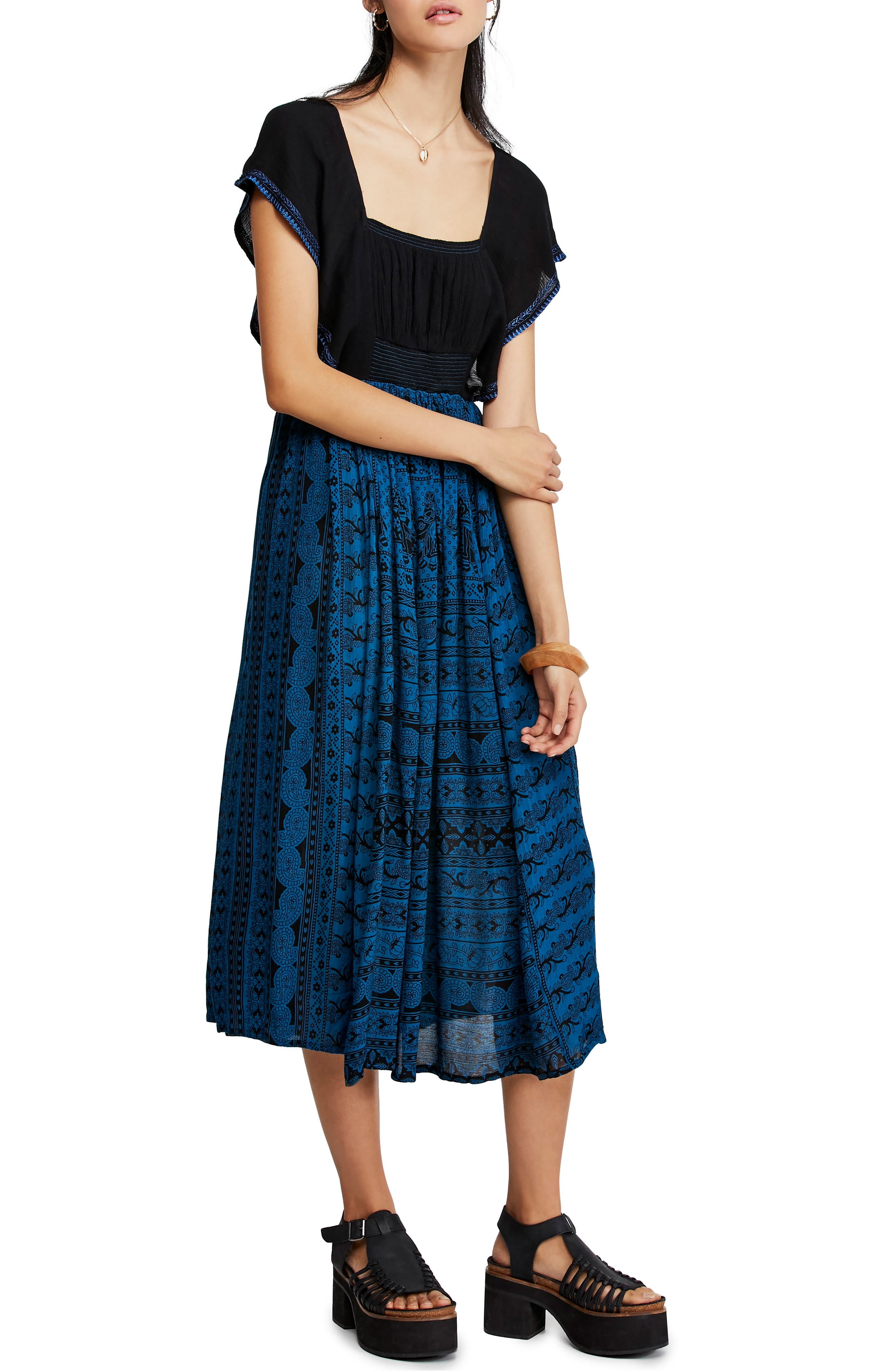 Free People In Search Of Paradise Square Neck Midi Dress, Blue
