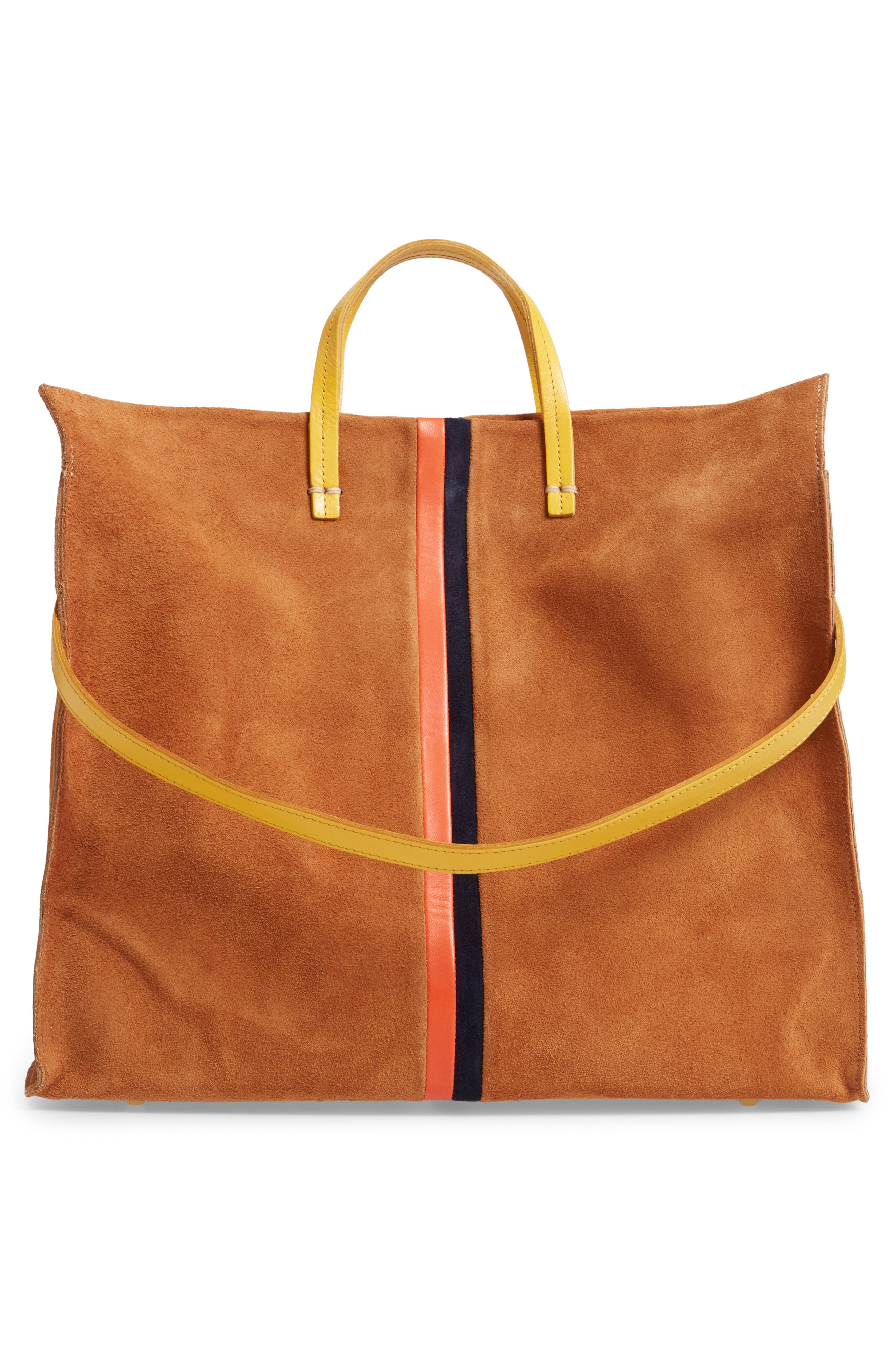,                             Simple Leather Tote,                             Alternate thumbnail 4, color,                             CAMEL/ NAVY RED STRIPES