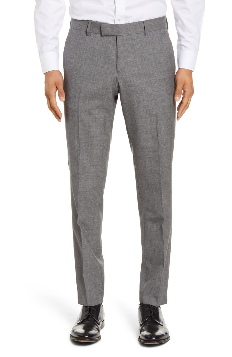 TIGER OF SWEDEN Flat Front Solid Wool Trousers, Main, color, MEDIUM GREY