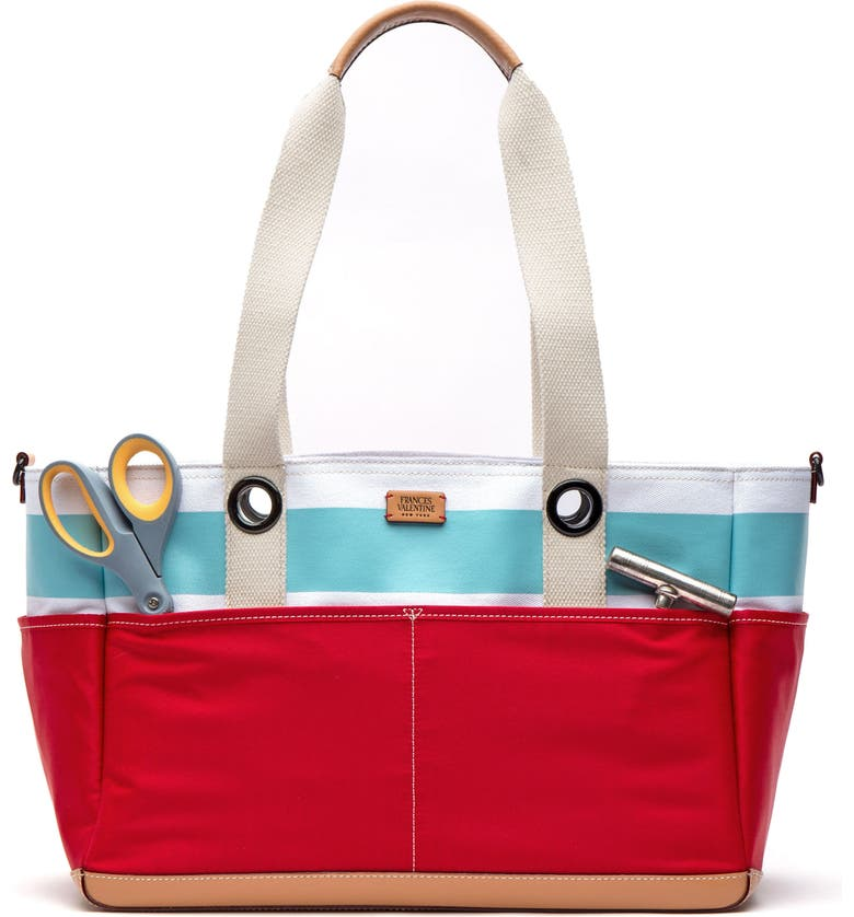 FRANCES VALENTINE Gibson Beach Canvas Gardening Bag, Main, color, LIGHT BLUE/ WHITE/ RED