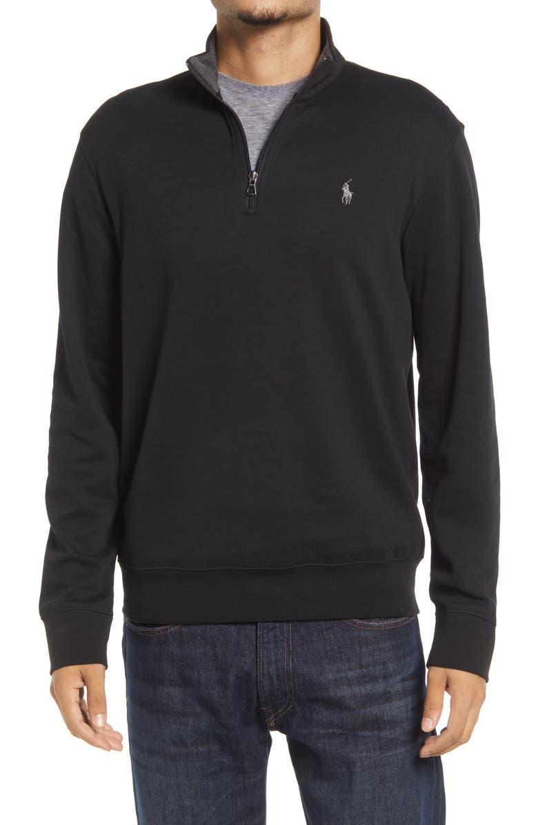 POLO RALPH LAUREN Men's Double Knit Jersey Half Zip Pullover, Main, color, POLO BLACK/ C9686