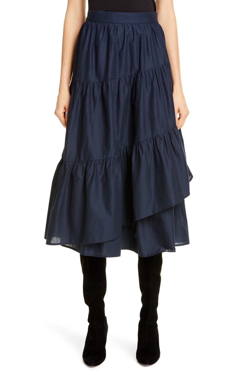 MERLETTE Hallerbos Tiered Midi Wrap Skirt, Main, color, NAVY