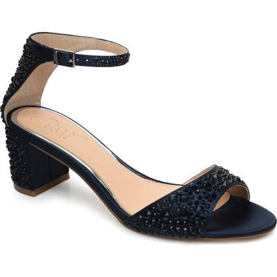Jewel Badgley Mischka Crystal Block Heel Sandal