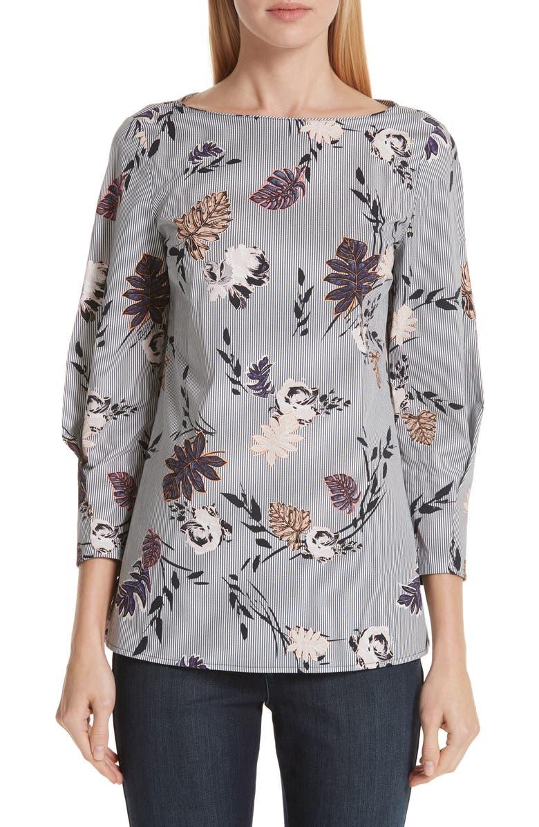 LAFAYETTE 148 NEW YORK Caddie Floral & Stripe Stretch Cotton Blouse, Main, color, 400