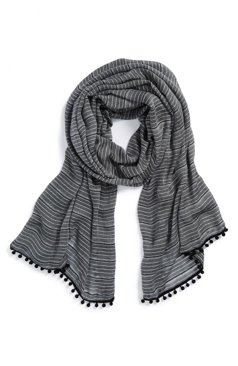 HALOGEN<SUP>®</SUP> 'Sparkle Stripe' Pompom Trim Scarf, Main, color, 001