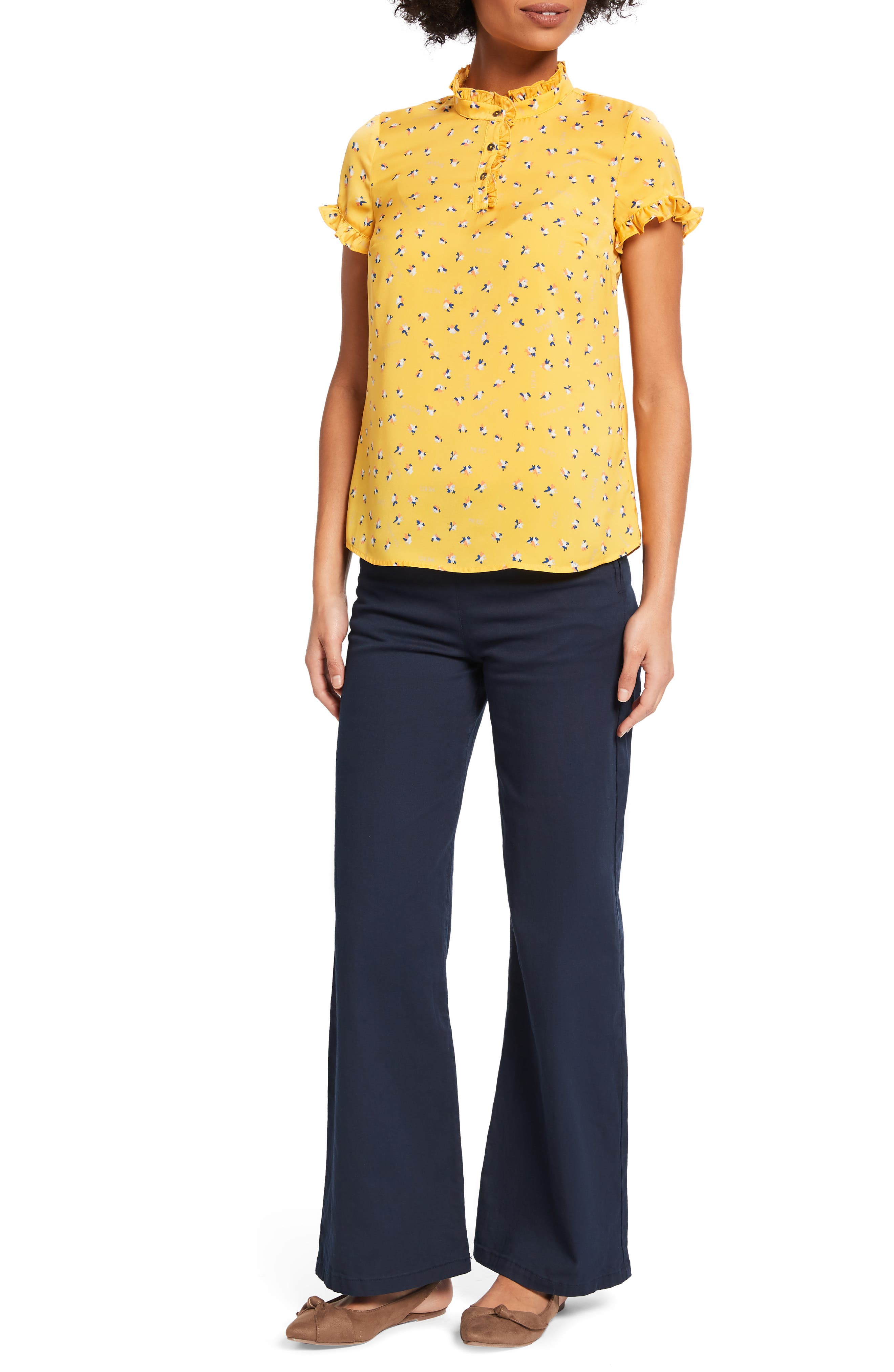 ,                             Form of Flattery Ruffle Top,                             Alternate thumbnail 7, color,                             YELLOW MULTI