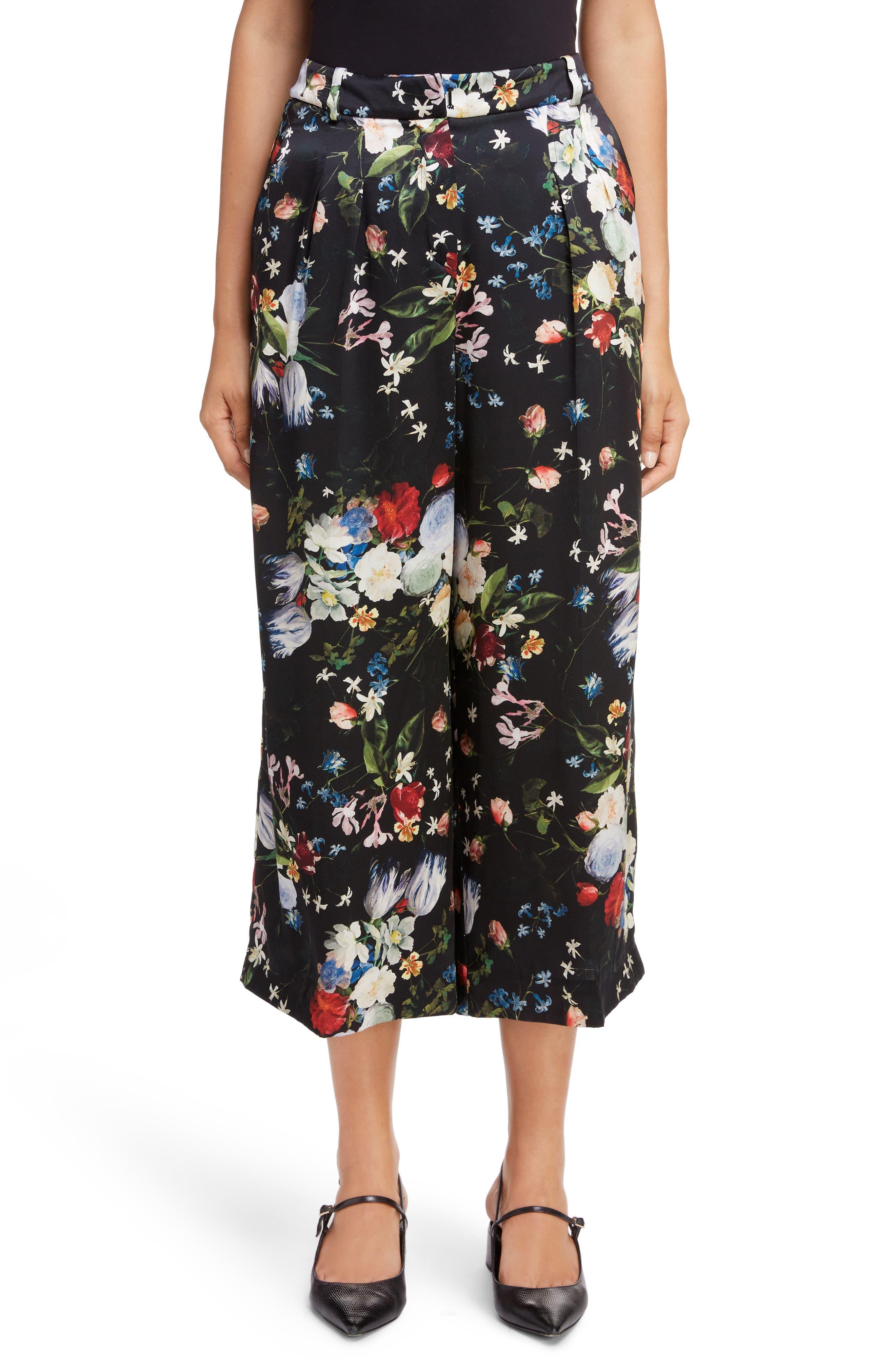 ,                             Floral Silk Satin Pleated Pants,                             Main thumbnail 1, color,                             BLACK/ MULTI