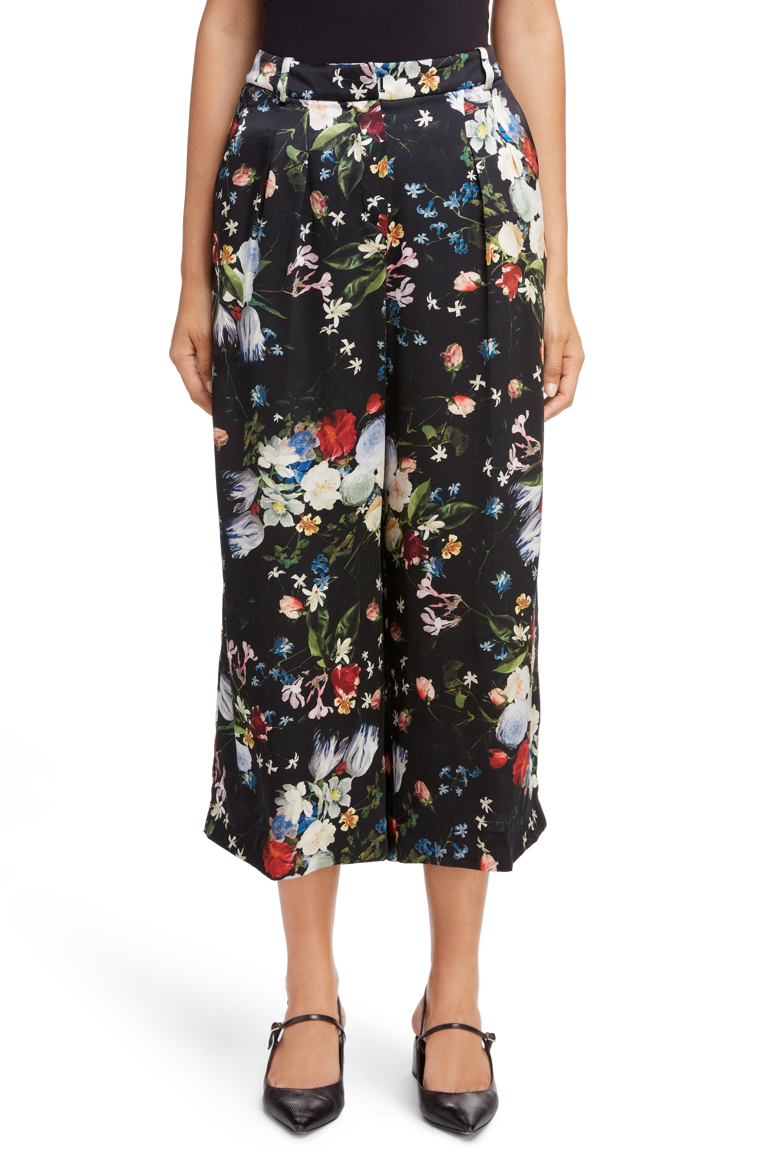 Floral Silk Satin Pleated Pants, Main, color, BLACK/ MULTI