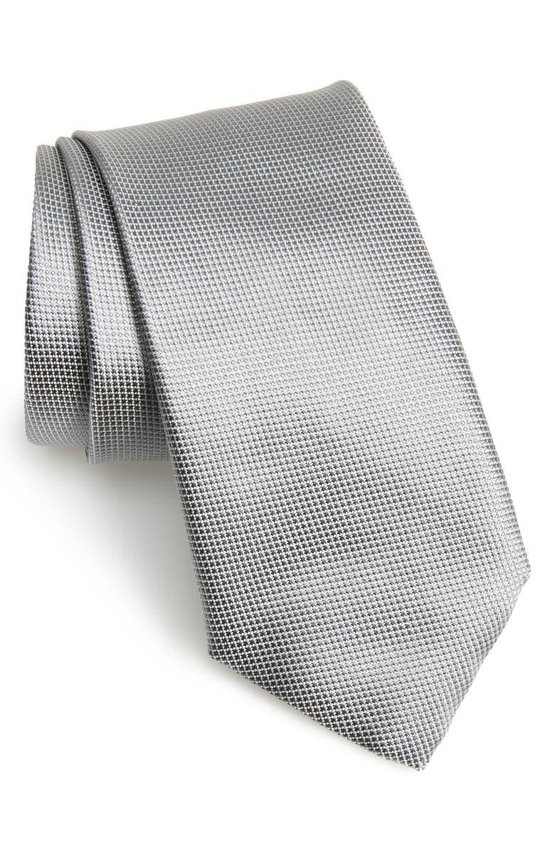 CANALI Solid Silk Tie, Main, color, SILVER