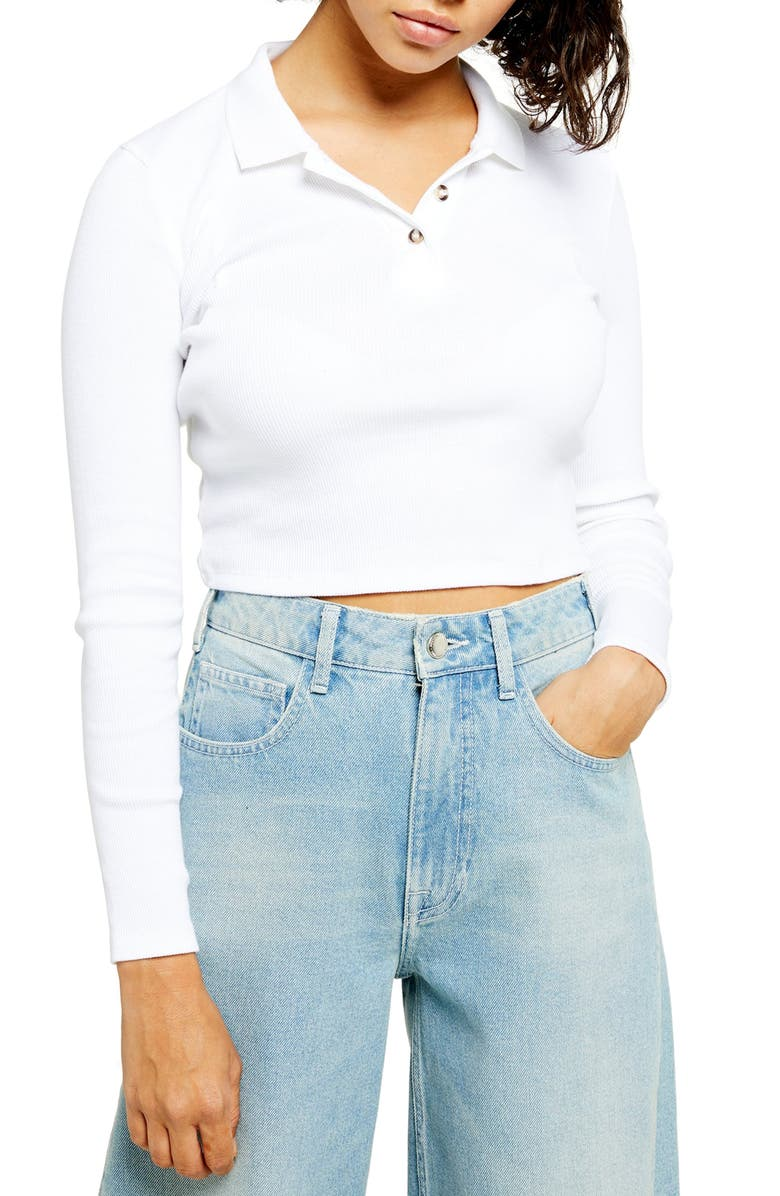 TOPSHOP Long Sleeve Crop Polo Shirt, Main, color, 100