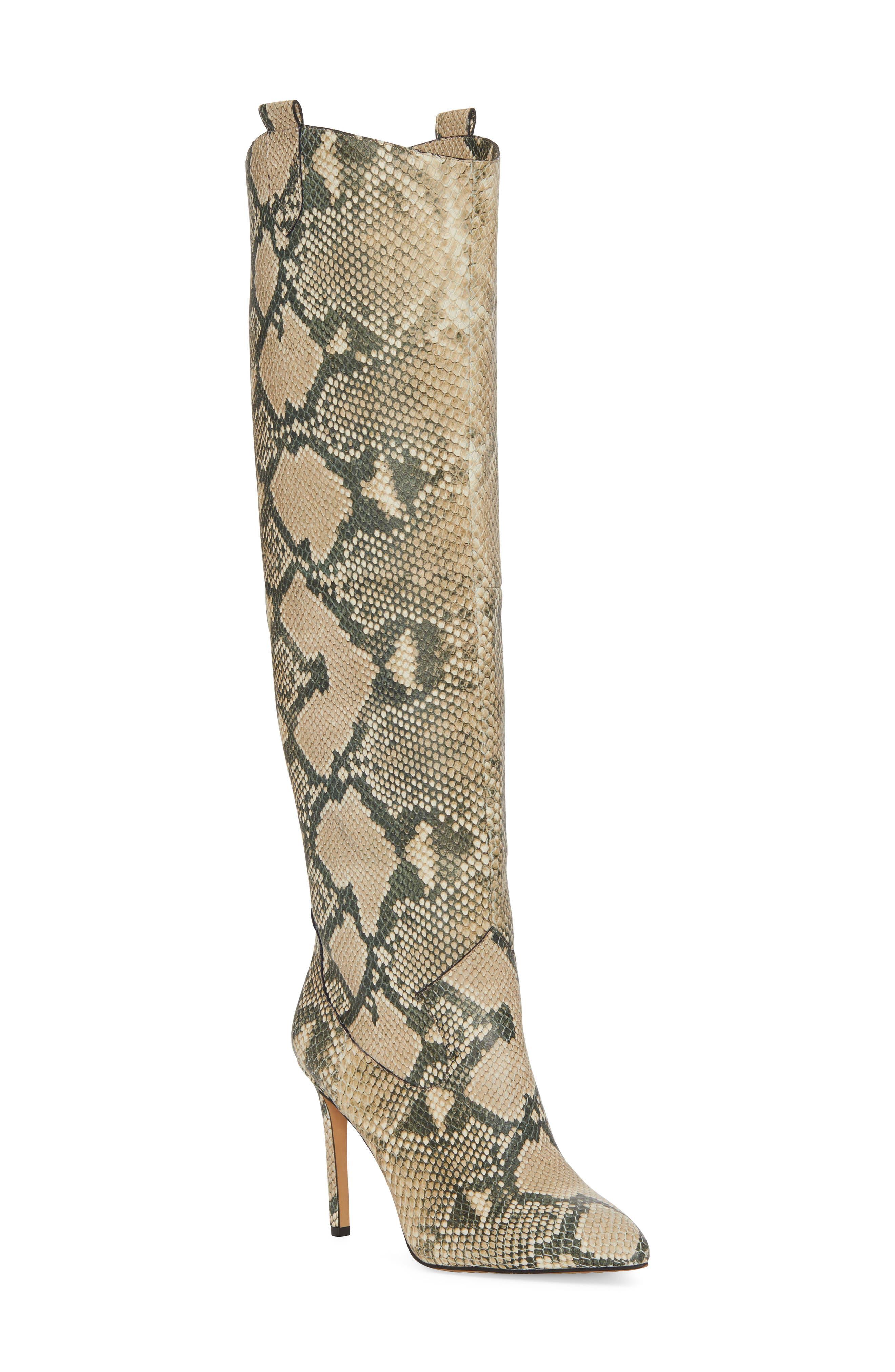 Vince Camuto Kervana Croc Embossed Knee High Boot (Women)