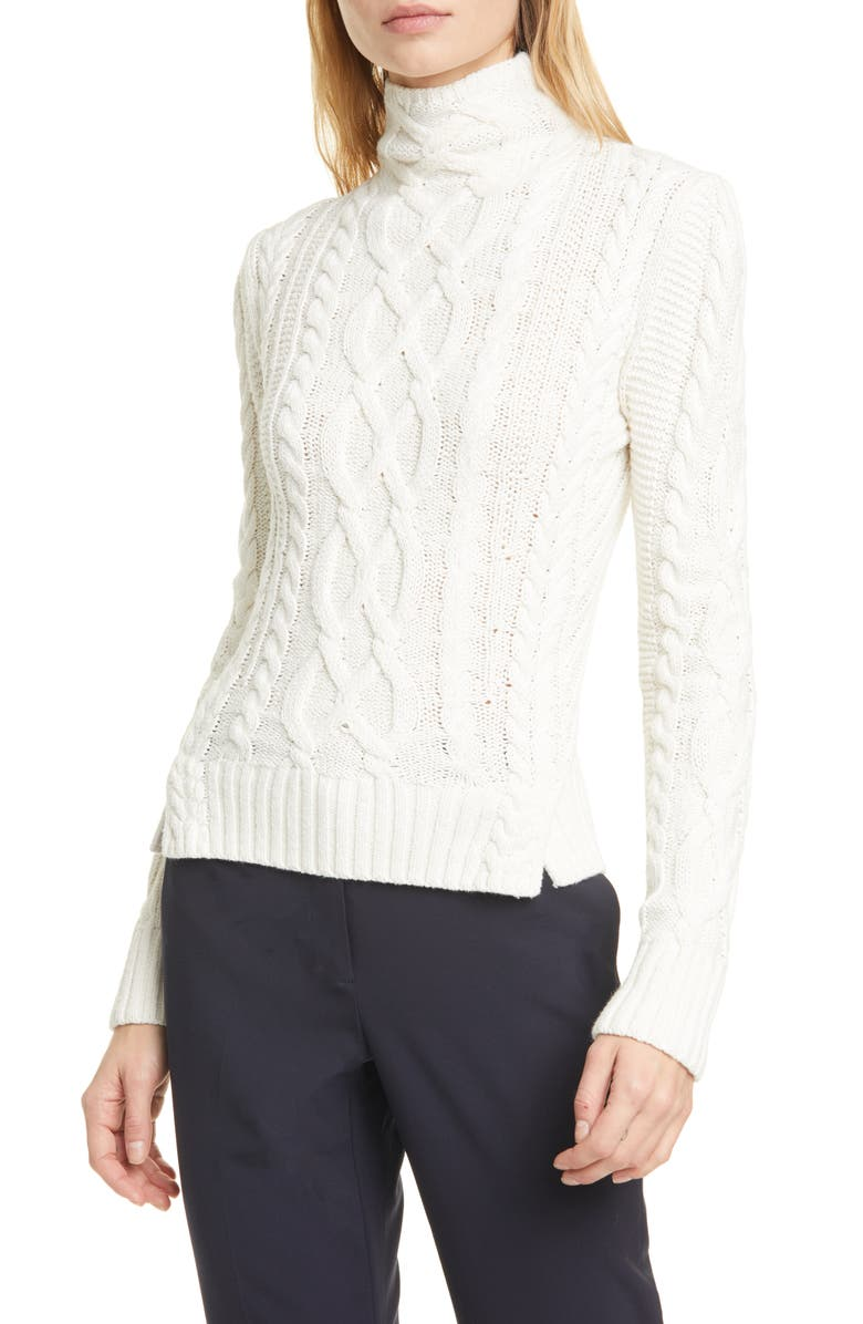 POLO RALPH LAUREN Aran Linen & Cotton Sweater, Main, color, CREAM