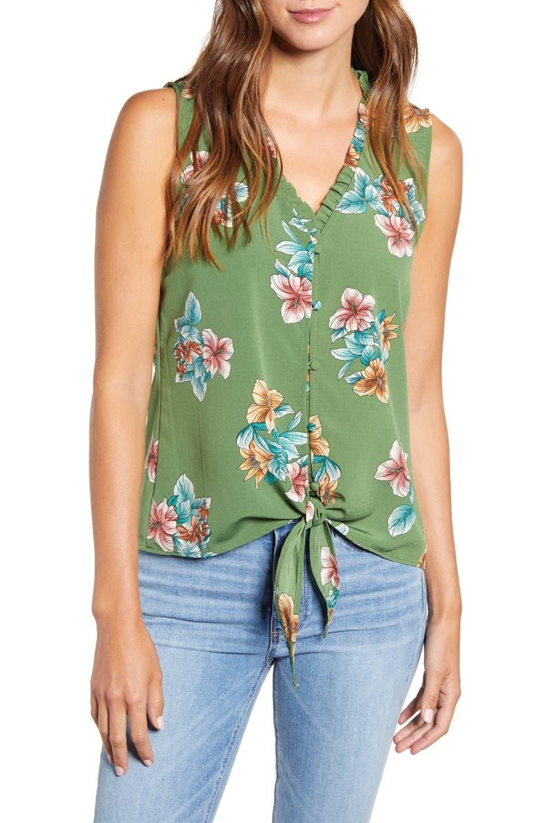 BOBEAU Gabrielle Print Tie Front Top, Main, color, TULUM FLORAL