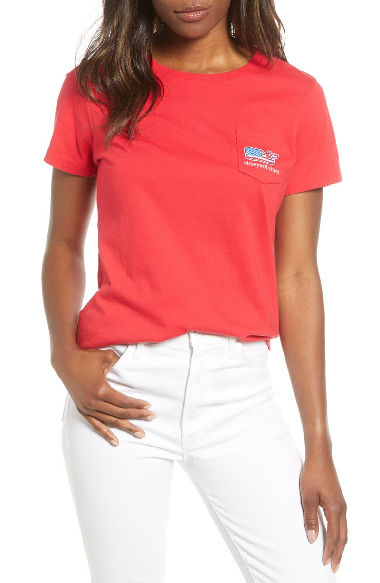 VINEYARD VINES Flag Whale Pocket Tee, Main, color, 634