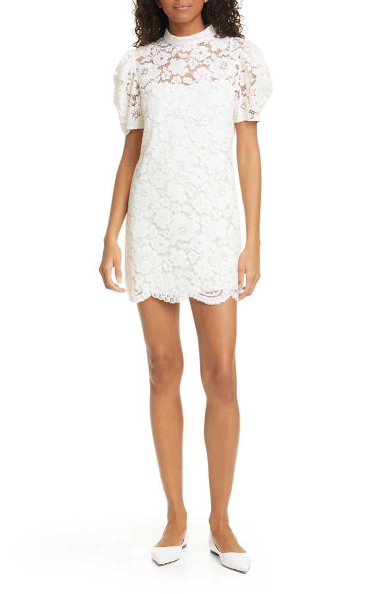 THE MARC JACOBS The Shift Lace Minidress, Main, color, 100