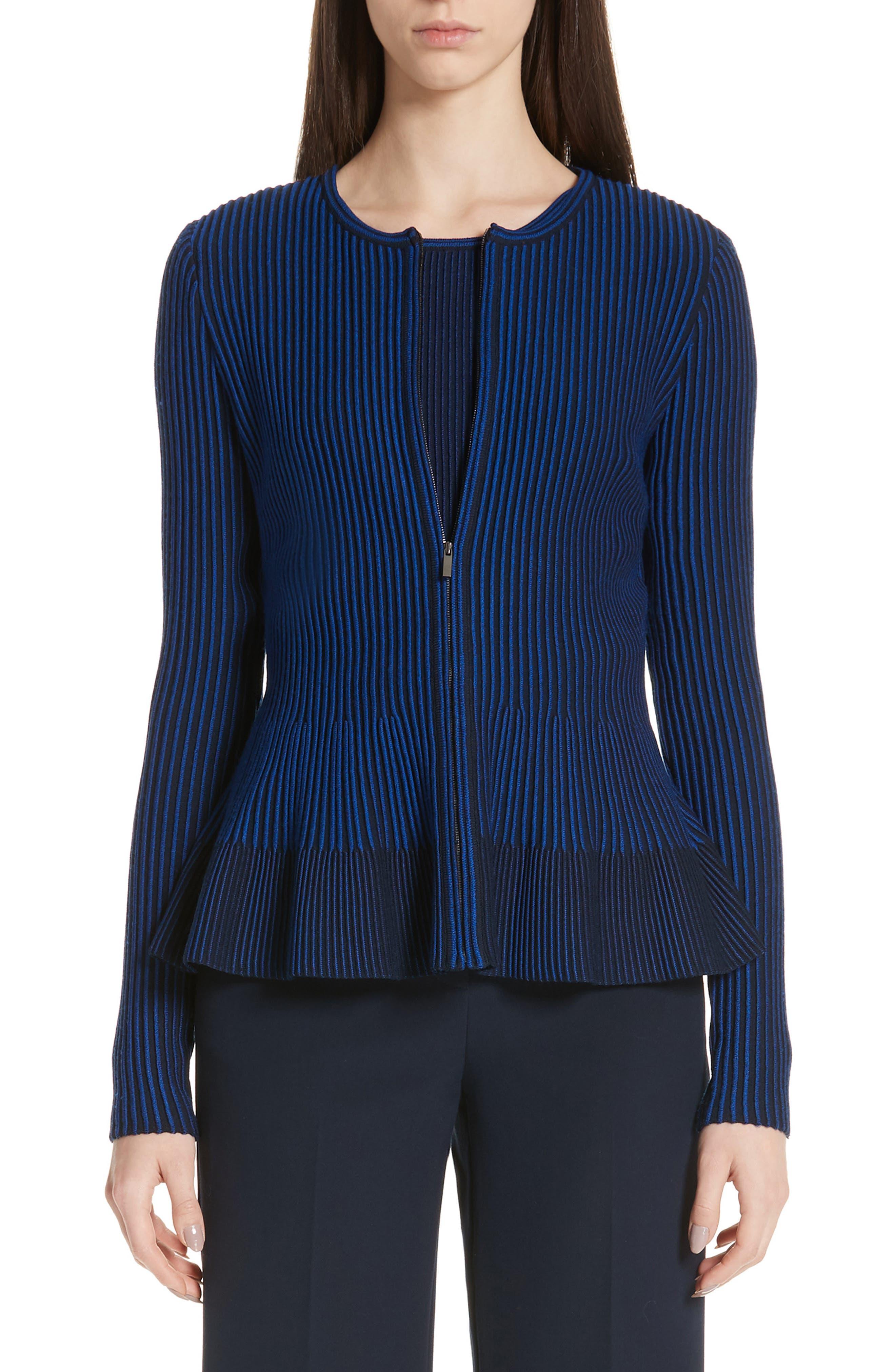 Knit Peplum Cardigan, Main, color, AZUL/ NAVY MULTI