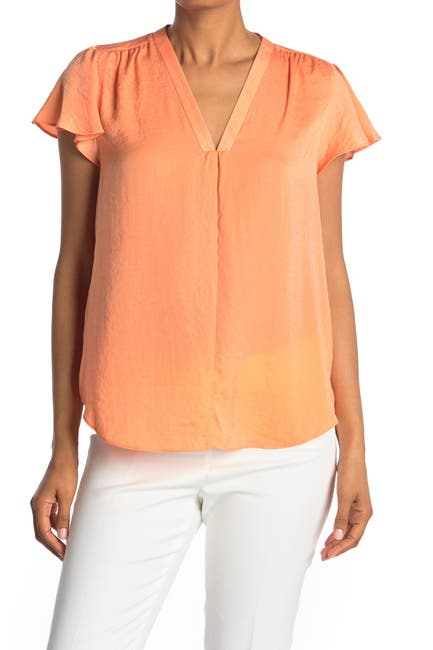 Image of Vince Camuto Flutter Sleeve V-Neck Blouse