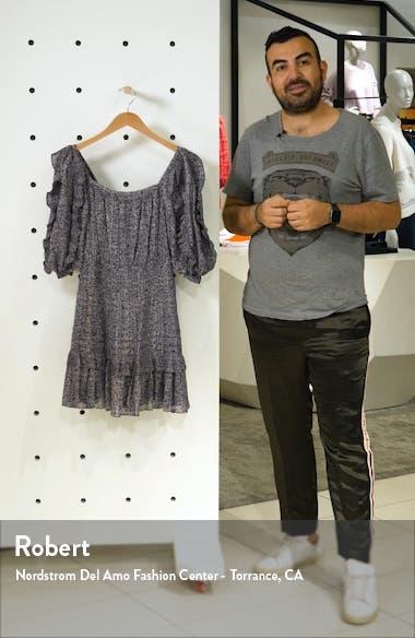 Block Vine Ruffle Detail Cotton & Silk Blend Dress, sales video thumbnail