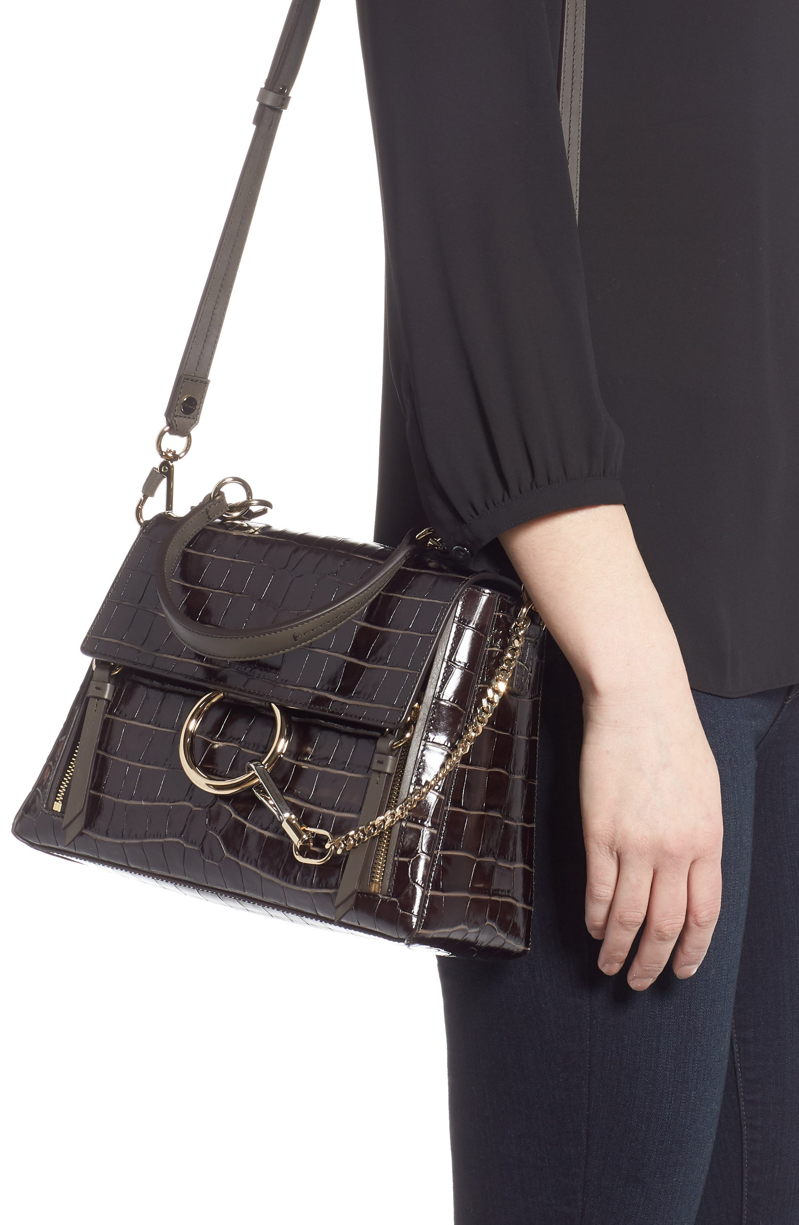 ,                             Medium Faye Day Croc Embossed Leather Shoulder Bag,                             Alternate thumbnail 2, color,                             PROFOUND BROWN