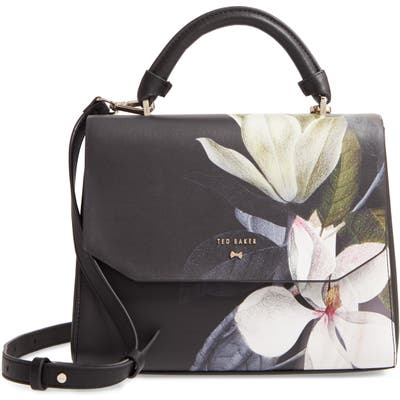 Ted Baker London Adeliah Opal Floral Print Faux Leather Top Handle Bag - Black