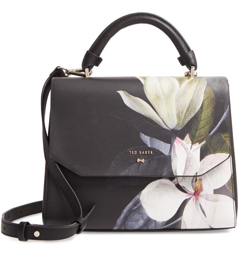 TED BAKER LONDON Adeliah Opal Floral Print Faux Leather Top Handle Bag, Main, color, BLACK